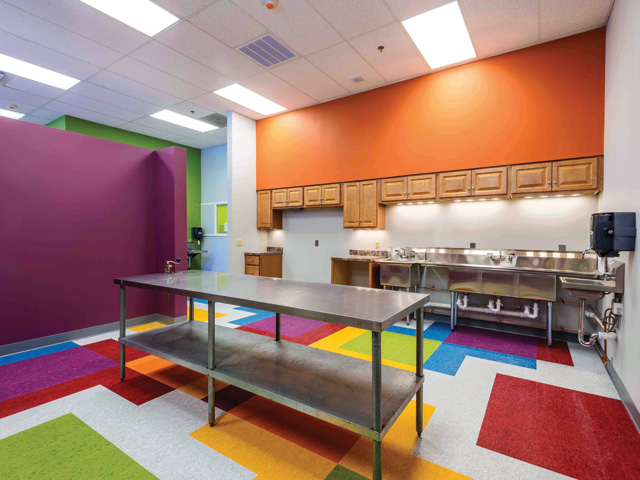 childcare classroom, multicolored VCT (vinyl composition tile) flooring, painted walls, partial wall room divider, light commercial-prep kitchen