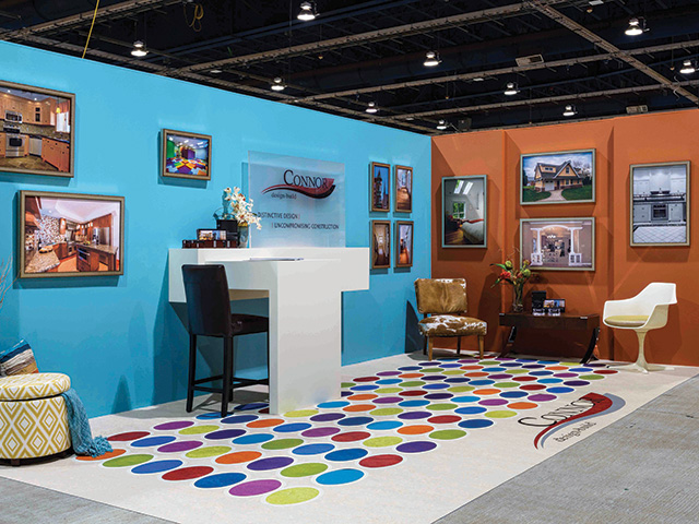multicolored marmoleum floor with inlays, trade booth