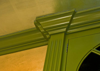 crown moulding, green cabinet, silver aluminum leaf ceiling