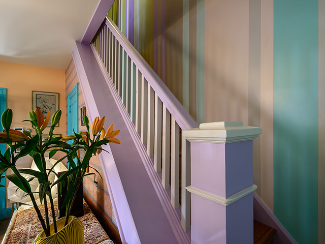 striped painting, stairway