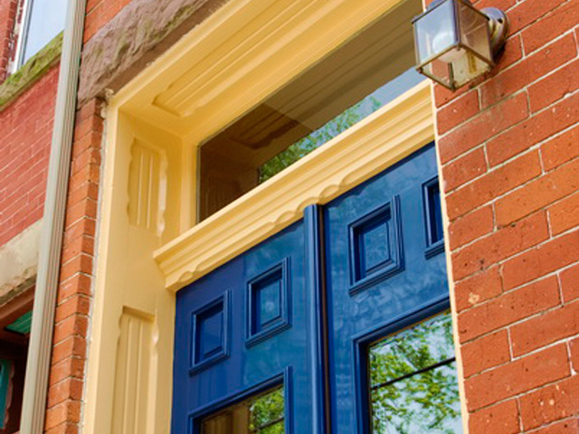 period correct door replacement, high gloss painted finish, blue doors, bronze hardware