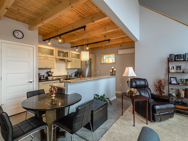 small living, loft, exposed beams, hardwood, burnished concrete floors, modern kitchen, quartz counters