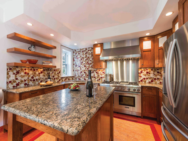 custom cherry cabinets, shaker cabinet doors, stainless steel appliances, mosaic wall tile